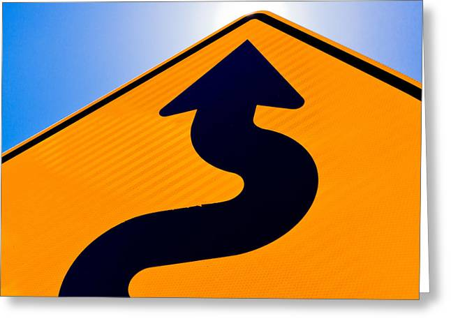 Tortuous Greeting Cards - Wavy arrow on road sign pointing up for success Greeting Card by Stephan Pietzko