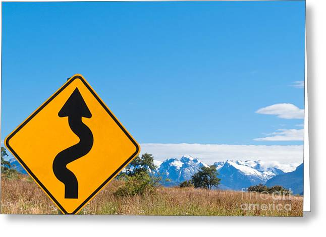Tortuous Greeting Cards - Wavy arrow roadsign and snowy mountain peaks Greeting Card by Stephan Pietzko