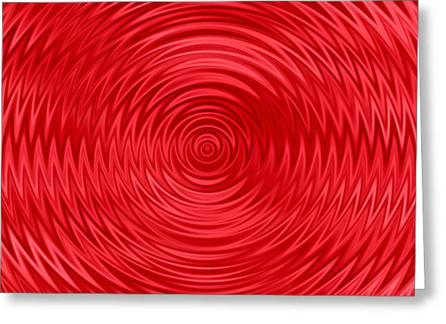 Wavy Red Background Greeting Card by Valentino Visentini