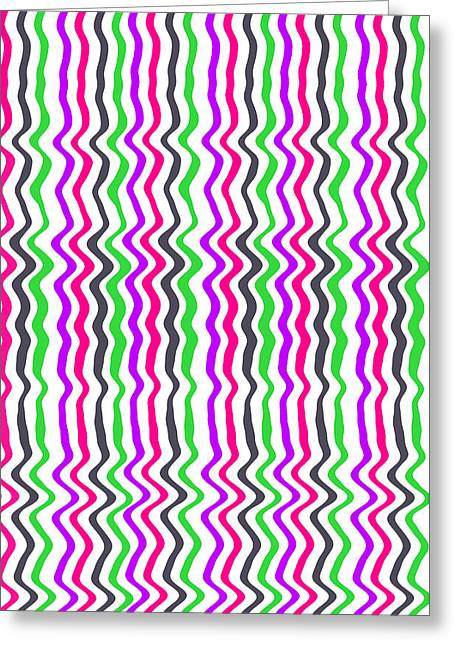 Green Geometry Art Greeting Cards - Wavy Stripe Greeting Card by Louisa Hereford
