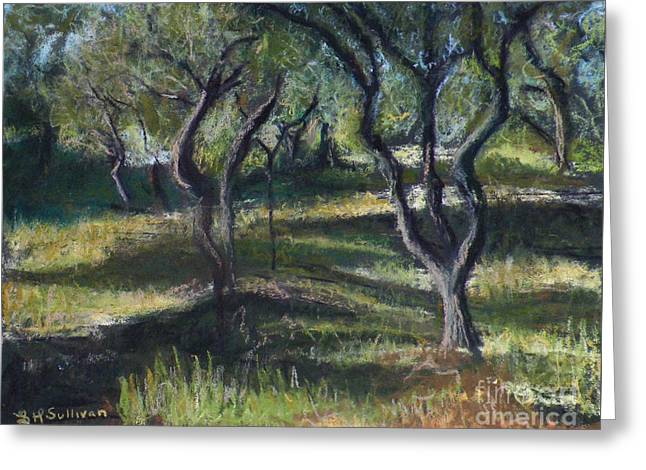Olives Pastels Greeting Cards - Wavy Trees Greeting Card by Laura Sullivan