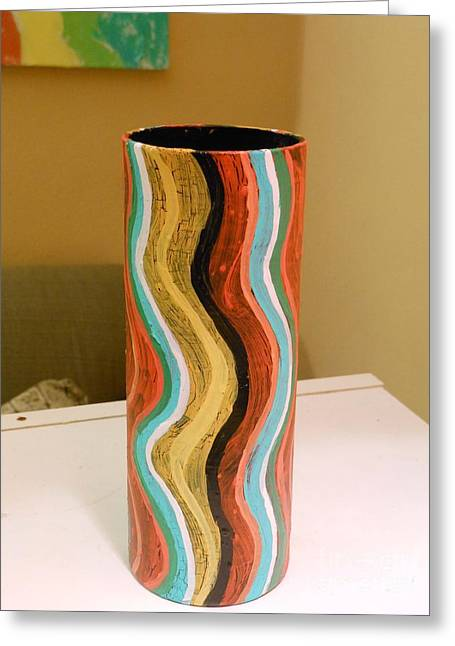Upcycle Greeting Cards - Wavy Vase Greeting Card by Genevieve Esson