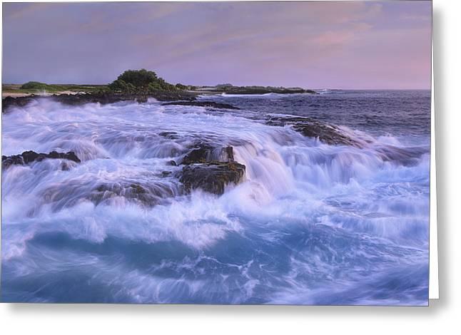 Ocean Shore Greeting Cards - Wawaloli Beach At Twilight Big Island Greeting Card by Tim Fitzharris