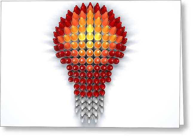 Red Art Greeting Cards - Wax Crayon Lightbulb  Greeting Card by Allan Swart