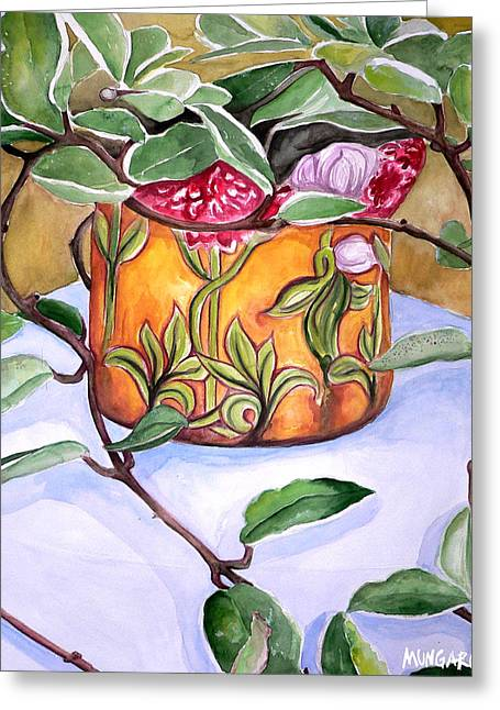 Wax Plant Greeting Card by Marley Ungaro
