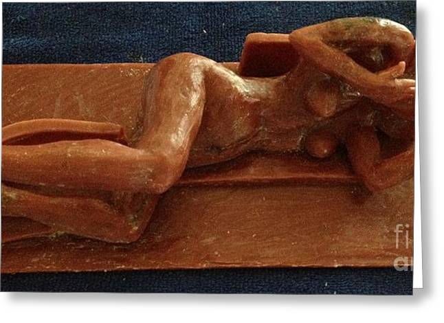 Bronze Sculpture Sculptures Greeting Cards - Wax work  for Egytian Princess Greeting Card by Charlie Spear