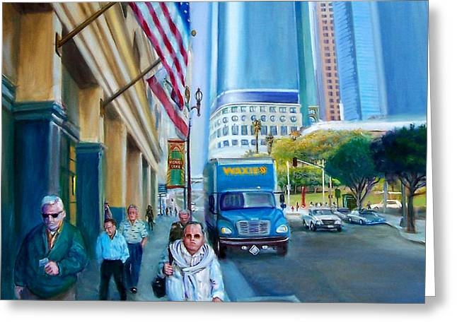 Down Town Los Angeles Greeting Cards - Waxie Greeting Card by Mark Frederickson