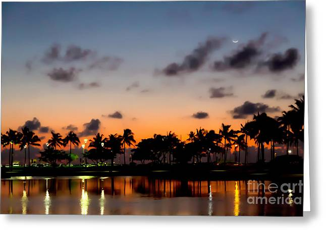 Kahanamoku Greeting Cards - Waxing Crescent Greeting Card by Jon Burch Photography