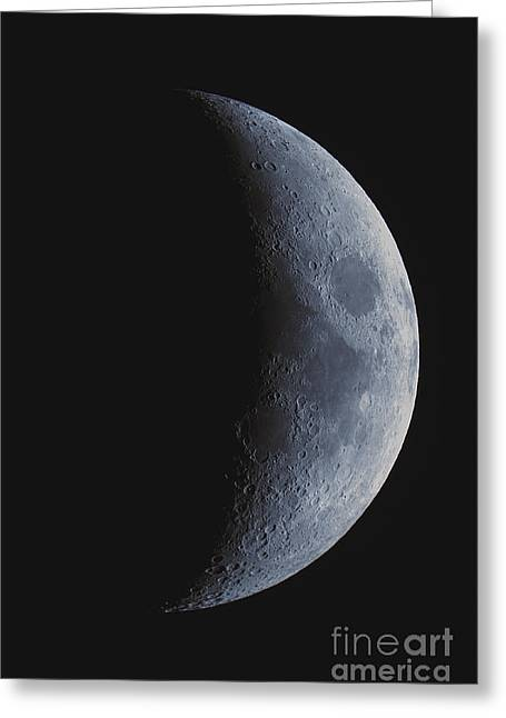 Waxing Crescent Greeting Cards - Waxing Crescent Moon Greeting Card by John Chumack