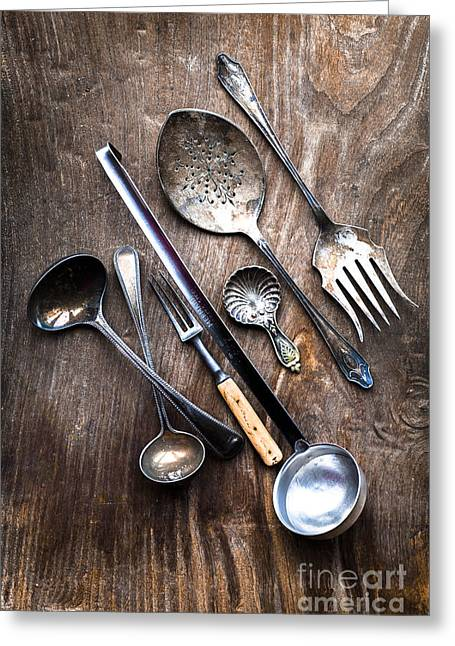 Cutlery Greeting Cards - Way Back When Greeting Card by Jan Bickerton