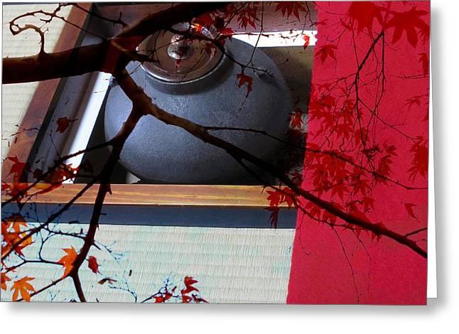 Kyoto Digital Art Greeting Cards - Way of Tea in Kyoto Greeting Card by Karen Jensen