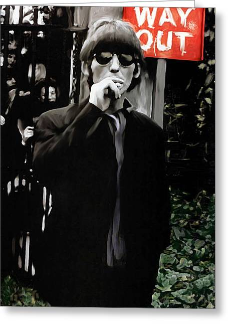 Concert Images Greeting Cards - Way Out George Harrison Greeting Card by Iconic Images Art Gallery David Pucciarelli