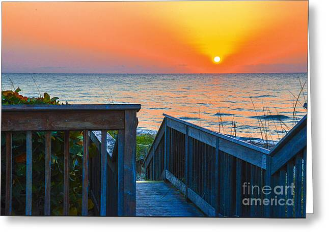 Wooden Stairs Greeting Cards - Way to the Sun Greeting Card by Amanda Sinco