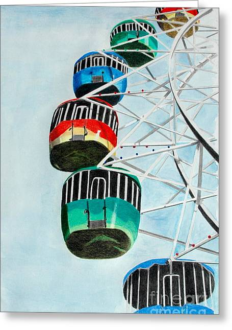 Amusements Drawings Greeting Cards - Way Up In the Sky Greeting Card by Glenda Zuckerman