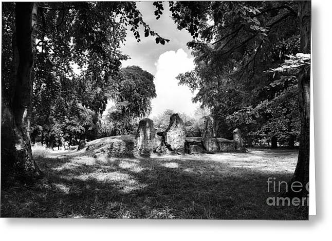 Bronze Age Greeting Cards - Waylands Smithy Monochrome Greeting Card by Tim Gainey
