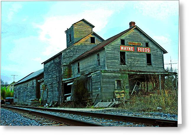 Old Feed Mills Photographs Greeting Cards - Wayne Feeds Greeting Card by Mike Flynn