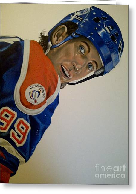 Wayne Gretzky Greeting Cards - Wayne Greeting Card by Graham McLeod