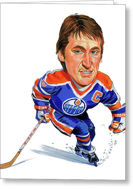 Hockey Paintings Greeting Cards - Wayne Gretzky Greeting Card by Art