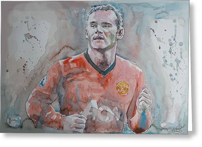 Wayne Rooney Greeting Cards - Wayne Ronney - Portrait 1 Greeting Card by Baresh Kebar - Kibar