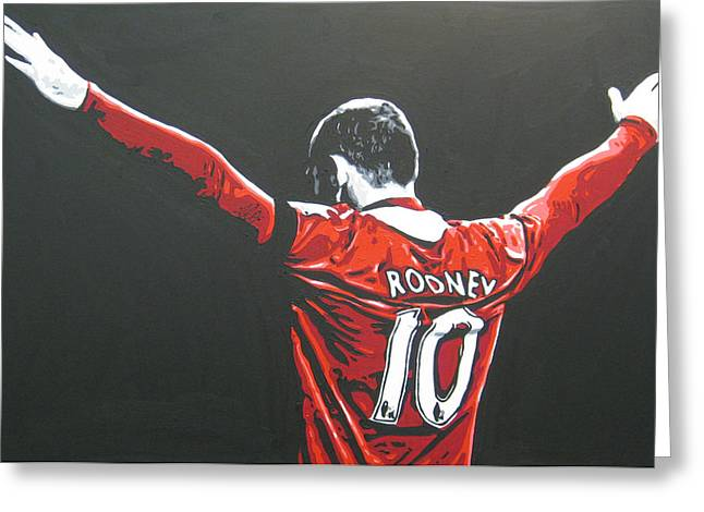 Wayne Rooney Greeting Cards - Wayne Rooney - Manchester United Fc 2 Greeting Card by Geo Thomson