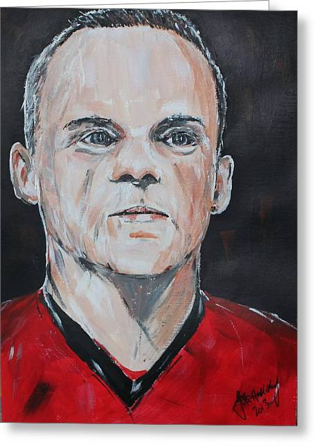Wayne Rooney Greeting Cards - Wayne Rooney Greeting Card by John Halliday