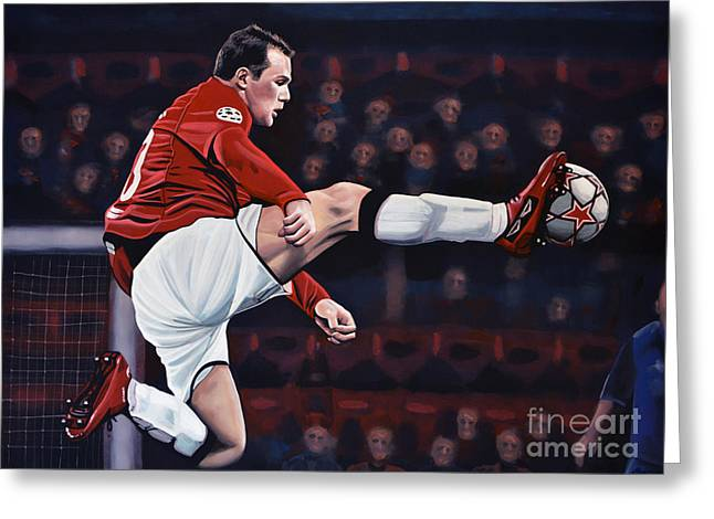 National Football League Paintings Greeting Cards - Wayne Rooney Greeting Card by Paul  Meijering
