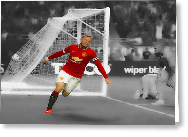 Wayne Rooney Greeting Cards - Wayne Rooney Scores Again Greeting Card by Brian Reaves