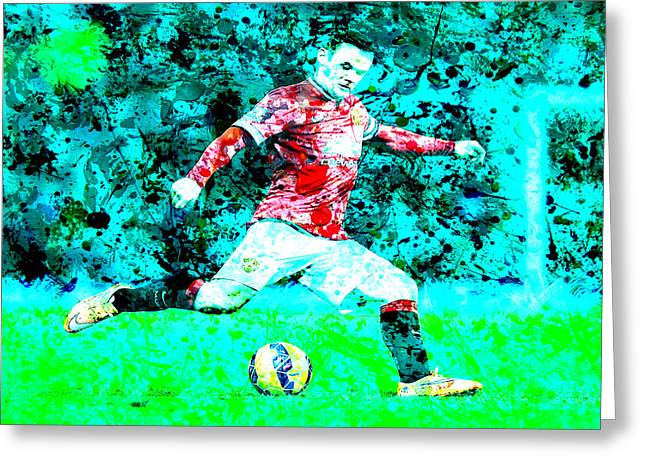 Wayne Rooney Greeting Cards - Wayne Rooney Splats Greeting Card by Brian Reaves