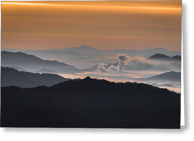 Love Asheville Greeting Cards - Waynesville Sunrise Greeting Card by Serge Skiba