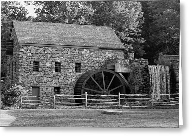 """wayside Grist Mill"" Greeting Cards - Wayside Grist Mill - Sudbury Massachusetts Greeting Card by Suzanne Gaff"
