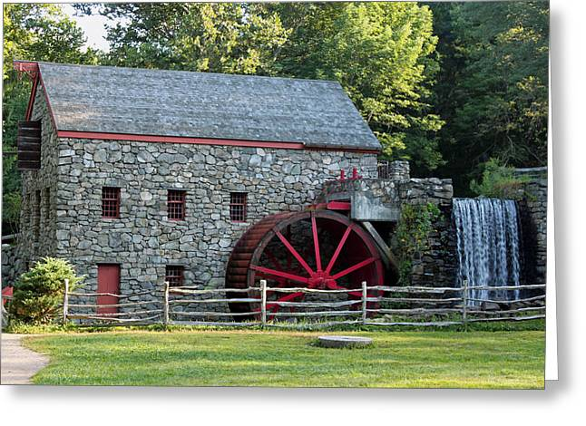 Sudbury Greeting Cards - Wayside Grist Mill Greeting Card by Suzanne Gaff