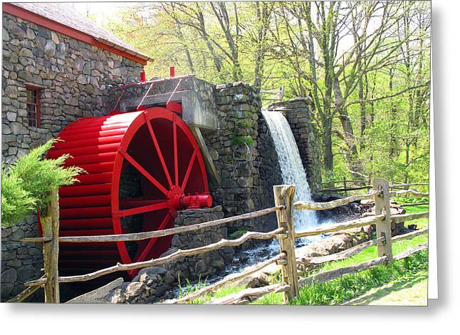 Wayside Inn Greeting Cards - Wayside Inn Grist Mill Greeting Card by Barbara McDevitt