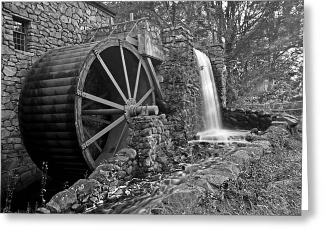 Wayside Inn Greeting Cards - Wayside Inn Grist Mill Black and White Greeting Card by Toby McGuire
