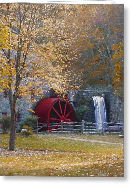 Wayside Inn Greeting Cards - Wayside Inn Grist Mill Greeting Card by Jean-Pierre Ducondi