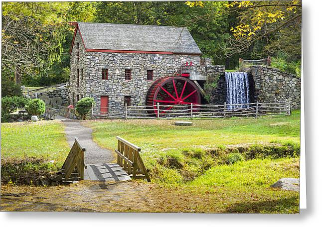 Paddle Wheel Greeting Cards - Wayside Inn Grist Mill Greeting Card by Kyle Wasielewski