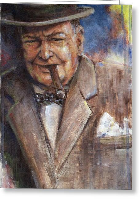 Legends Greeting Cards - Churchill Greeting Card by Josh Hertzenberg