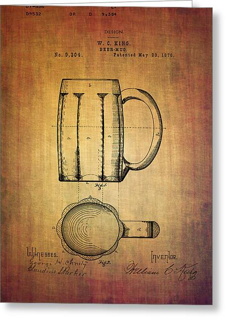 1876 Mixed Media Greeting Cards - W.C.King beer mug patent from 1876 Greeting Card by Eti Reid