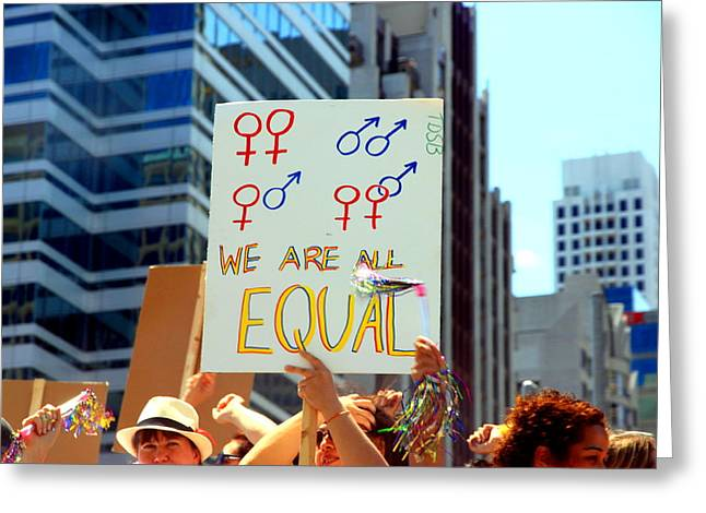 Equality Greeting Cards - We Are All Equal Greeting Card by Valentino Visentini