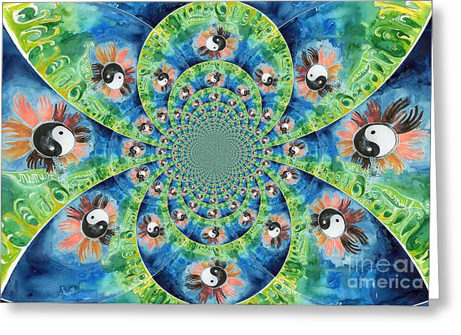 Ying Greeting Cards - We Are All One Race Flower Kaleidoscope Mandela Greeting Card by Genevieve Esson