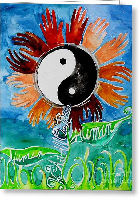 Yang Paintings Greeting Cards - We Are All One Race Human Greeting Card by Genevieve Esson