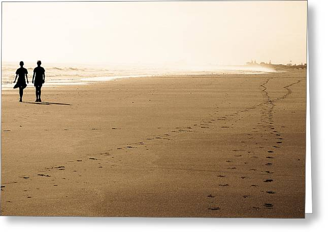 Beach Photography Greeting Cards - We Are Not Alone Greeting Card by Constance Fein Harding