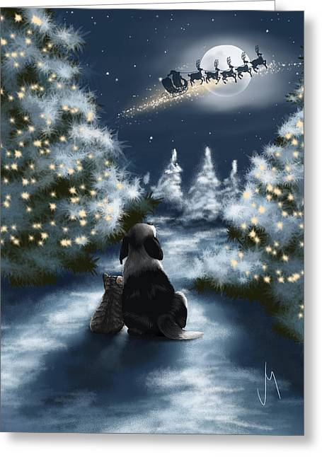Snowy Night Night Greeting Cards - We are so good Greeting Card by Veronica Minozzi