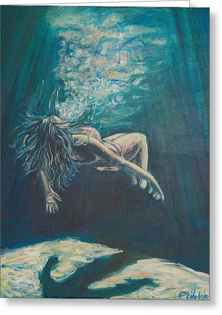 Lady In Lake Greeting Cards - We Cease To See Greeting Card by Erik Warn