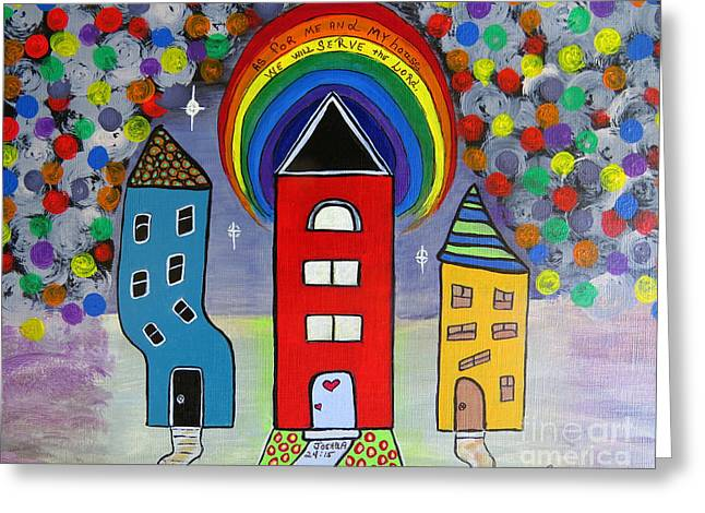 Rainbow Fantasy Art Greeting Card Greeting Cards - We Choose to Serve - Original Whimsical Folk Art Painting Greeting Card by Ella Kaye Dickey