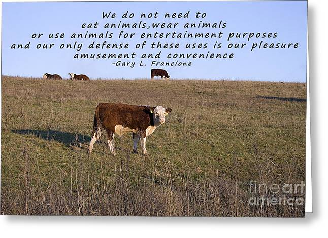 Moral Greeting Cards - We Do Not Need To Eat Animals Greeting Card by Janice Rae Pariza