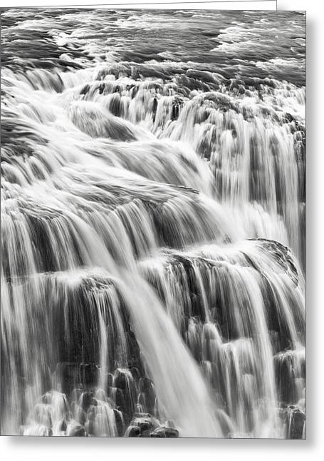 Black And White Waterfall Greeting Cards - We Fall Greeting Card by Jon Glaser
