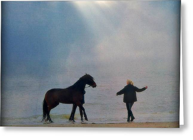 Sun Breaking Through Clouds Photographs Greeting Cards - We go together like a horse and carriage Greeting Card by Lisa Van der Plas