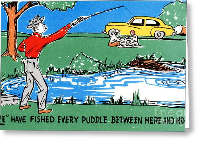 Road Trip Drawings Greeting Cards - We have fished every puddle between here and home Greeting Card by Eldon Frye