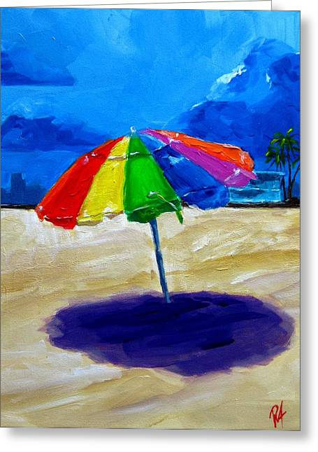 Hallandale Beach Greeting Cards - We left the umbrella under the storm Greeting Card by Patricia Awapara