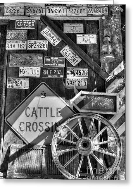 Spokes Greeting Cards - We Love Rabbit Hash BW Greeting Card by Mel Steinhauer